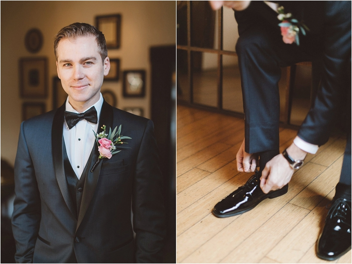 Groom in navy and black suit