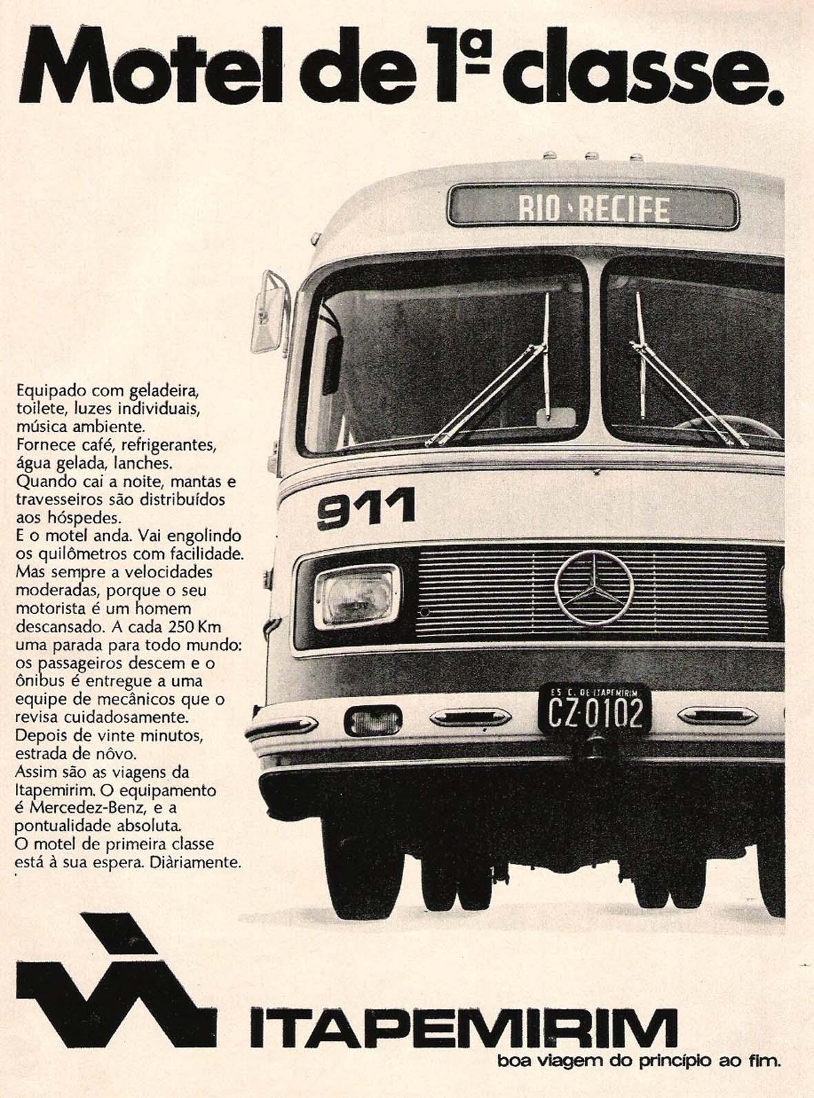 Campanha da Viação Itapemirim nos anos 70 que comparava a qualidade dos seus ônibus com um motel