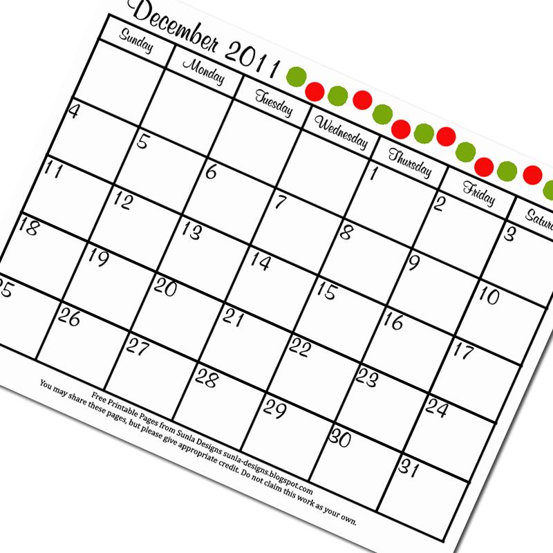 Sunla Designs: Freebie: December 2011 Calendar Printable