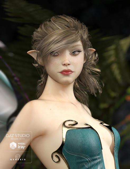 Alieta Spryte Hair for Genesis 2 - Genesis 3 Female