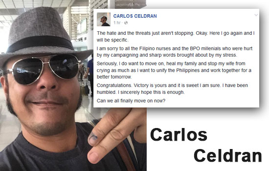 Carlos Celdran says 'Sorry' and 'Congratulates Duterte's supporters'