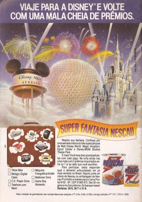 Propaganda de 1993 com promoção do Nescau que sorteava viagens para a Disney com vários eletrônicos na bagagem