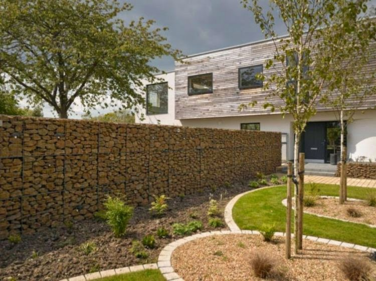Decorative garden fence panels and walls with natural stone Home