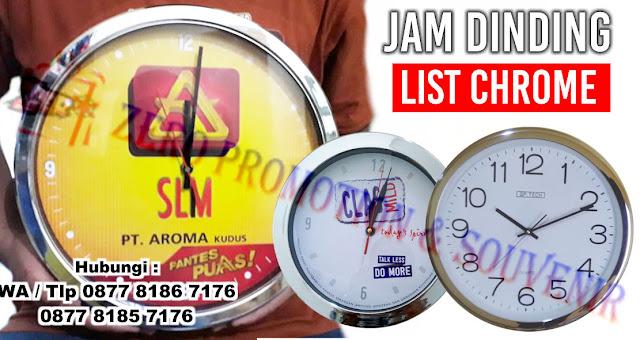 jual Jam Dinding List Chrome/Stainless, Chrome Jam Souvenir Perusahaan - Jam dinding dengan bingkai bewarna Chrome / ring krom