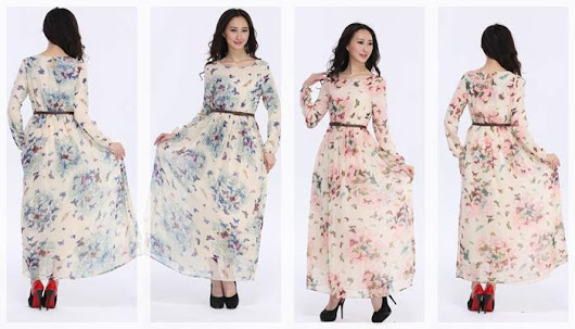 Butterfly Printed Jubah With Belt.