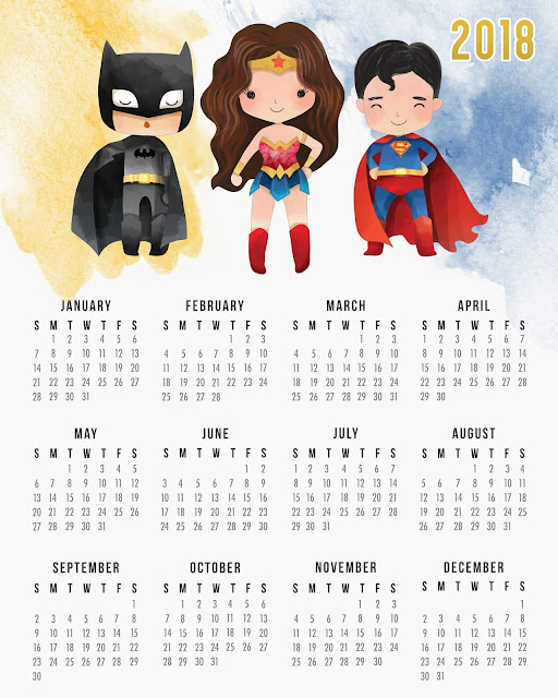 Free Printable 2018 Justice League Calendar.