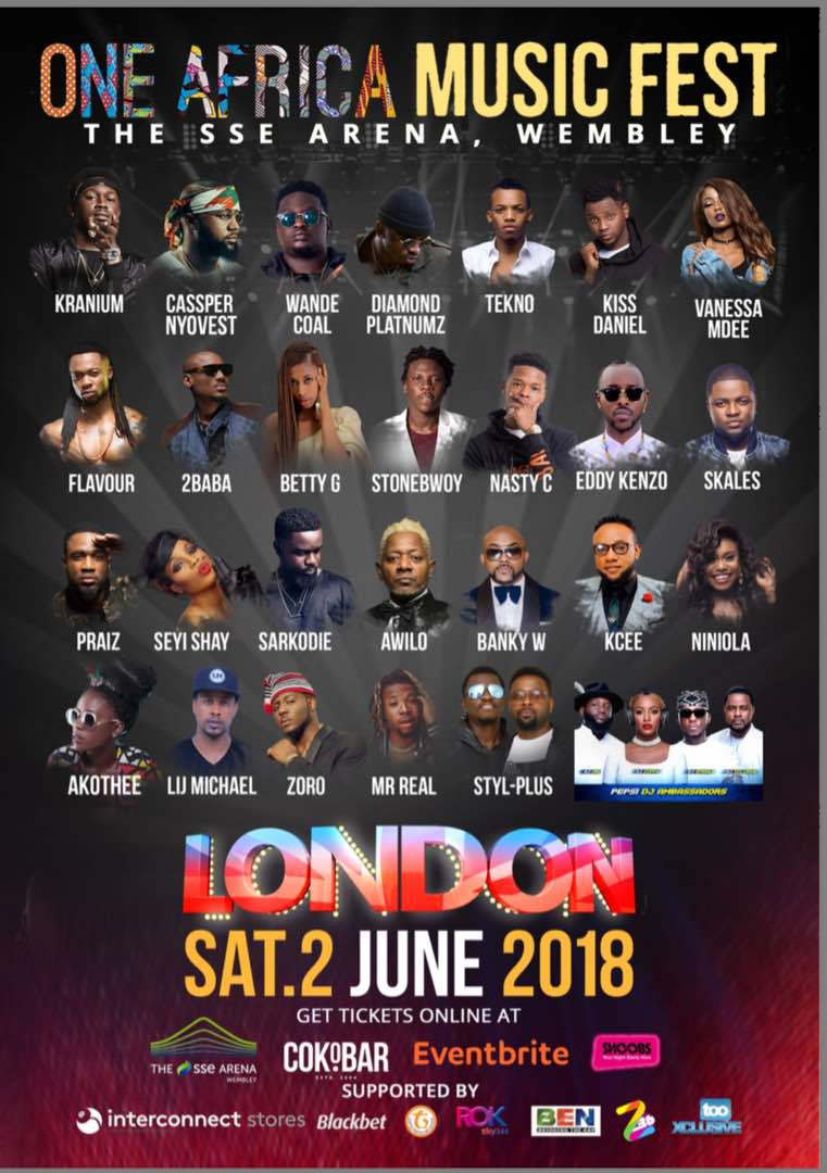 Sat/2/June: ONE AFRICA MUSIC FEST (LONDON) 2018