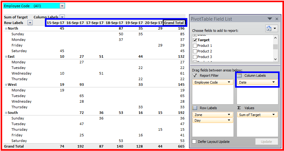 how to change column labels in pivot table