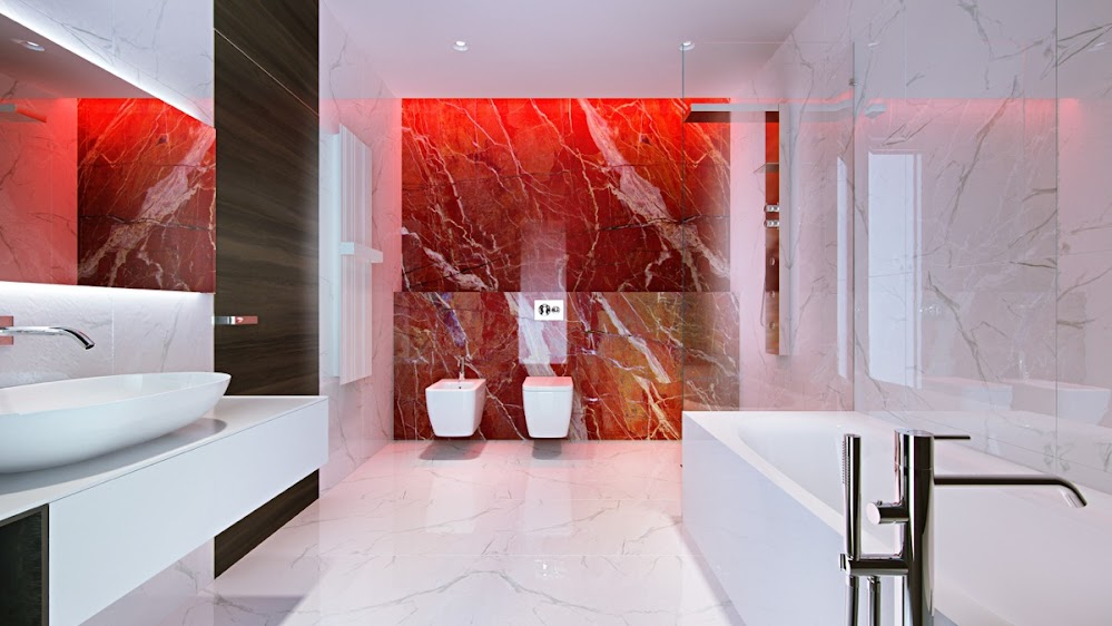 White-Red-Marble-Bathroom