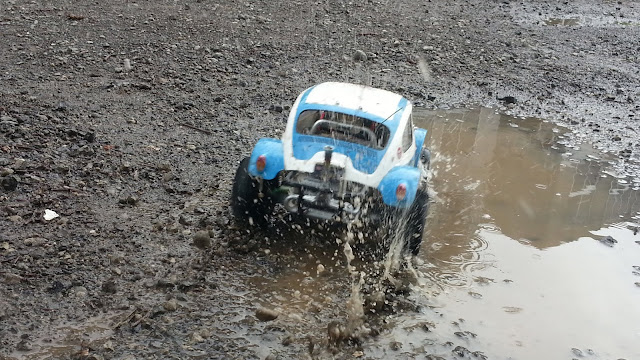 Tamiya Sand Scorcher in action on sand, mud and dirt