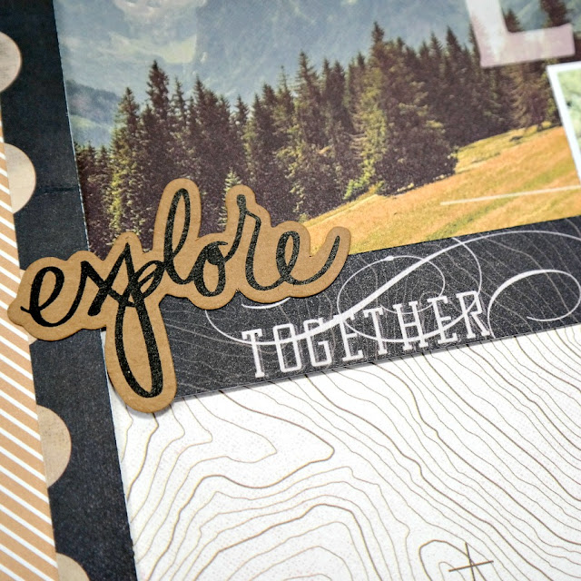 Explore Together Die-Cut Camping Scrapbook Layout Title