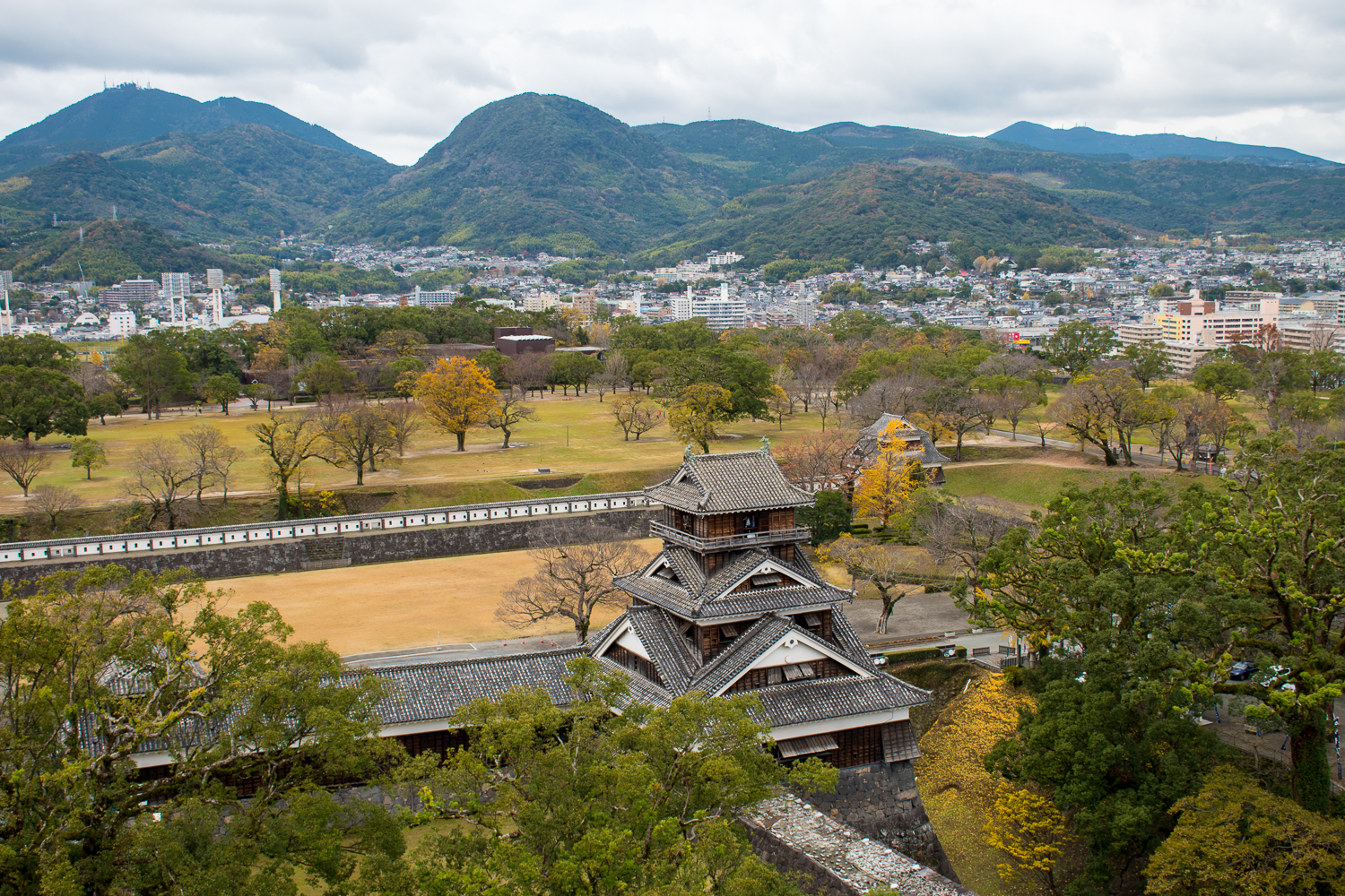best aerial view of japan Kumamoto castle Japan
