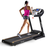Ancheer Folding Electric Treadmill, with DC 2.25 hp motor, speeds 0.5-8 mph, 2 manual incline levels, 12 programs