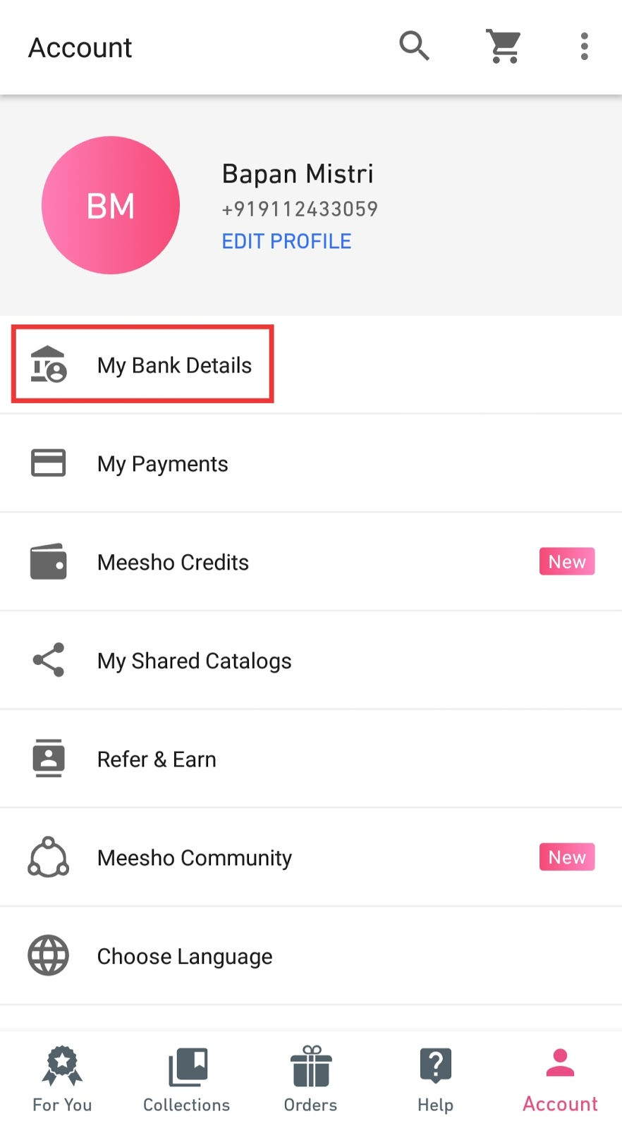 Meesho bank details