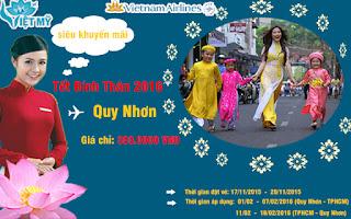 Vé máy bay lệch đầu tết đi Quy Nhơn giá 399.000VND Vietnam Airline