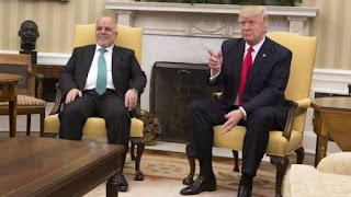 عاجل الرئيس الأمريكي دونالد  ترامب يهنئ العراقيين ويبلغ العبادي وقع انتصار الموصل في مدن العالم