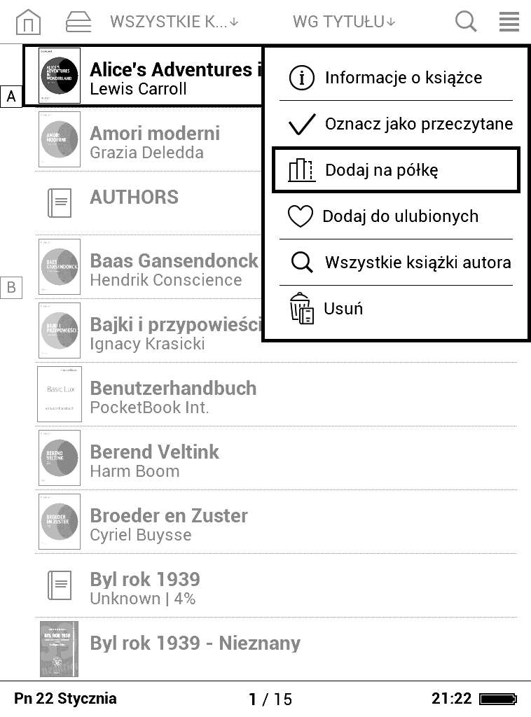 PocketBook Basic Lux - dodawanie e-booka dokolekcji