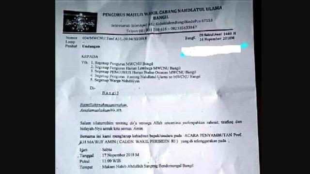 Beredar Undangan NU untuk Sambut Ma'ruf Amin, KH Najib: NU Jangan Dijadikan Arena Politik