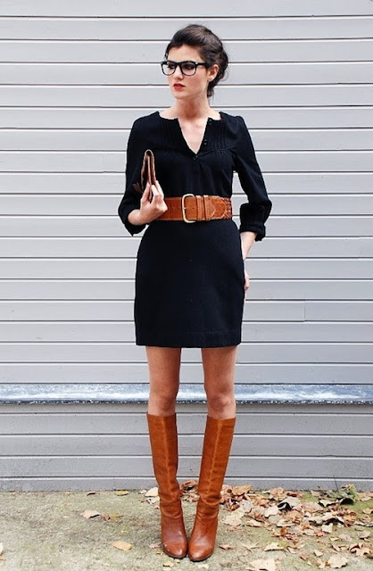 Black dress with brown belt