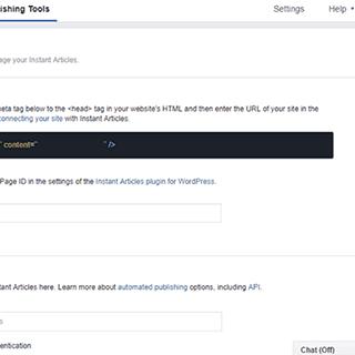 ربط الموقع الخاص بك بخدمة المقالات الفورية على فيسبوك