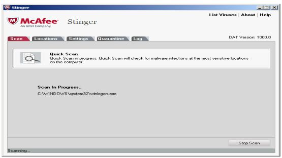 McAfee Stinger screenshot 4