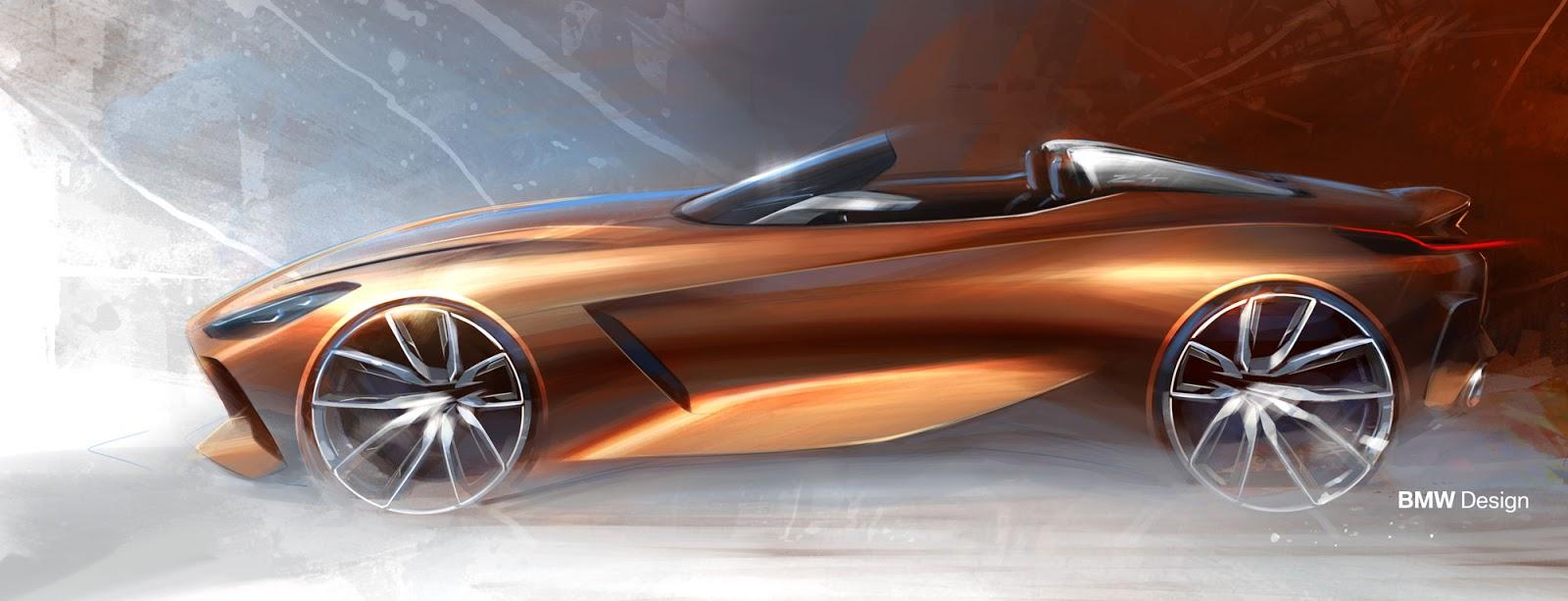 BMW Z4 sketch by Calvin Luk side view