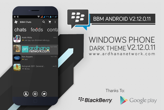 BBM Windows Phone Dark Grey - BBM Android V2.12.0.11