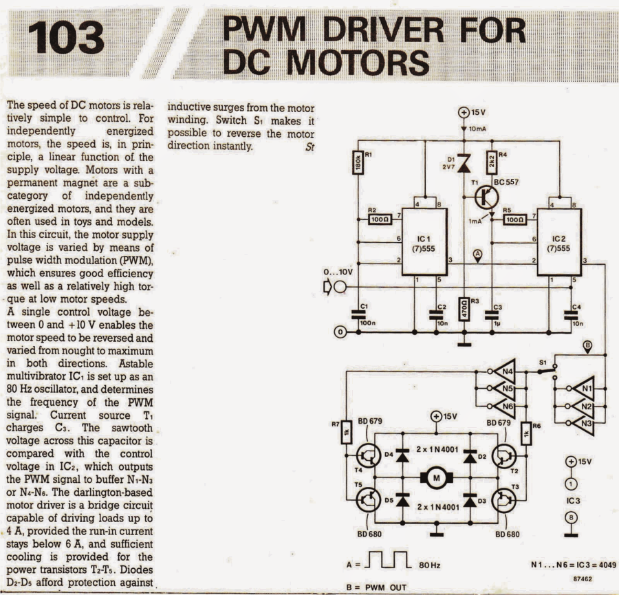 Pwm motor speed controller circuit using ic556 for Dc motor driver ic