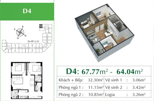 Căn D4 chung cư Ecocity Long Biên.