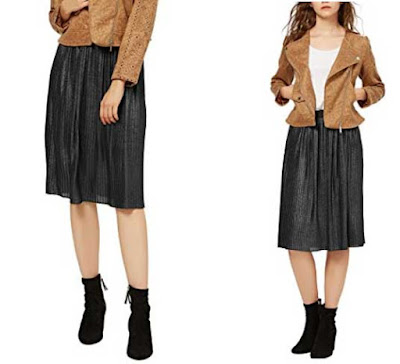 falda midi negra barata