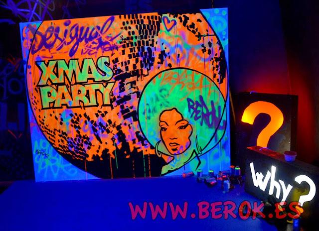 Exhibición de graffiti fluorescente en Sala Bikini para Desigual