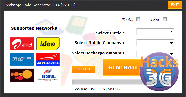 free aircel recharge coupon code generator