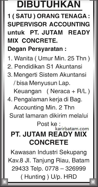 Lowongan Kerja PT. Jutam Ready Mix Concrete