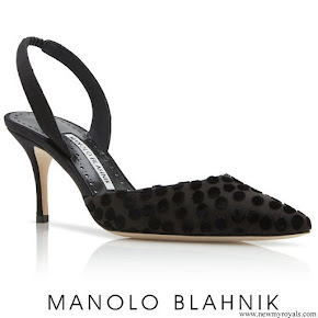 Meghan Markle wore Manolo Blahnik Black Satin and Velvet Polka Dot Slingback Pumps