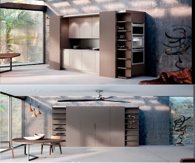 hidden kitchens in cupboards for living space