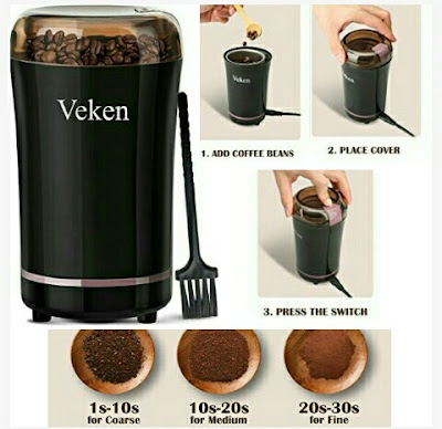 Veken Coffee Beans Grinder - 50g Capacity up to 12 Cups