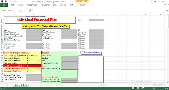Personal Financial Management Plan Template Engineering Management