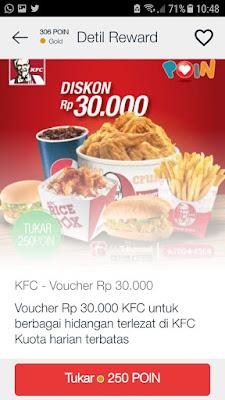 Proses penukaran telkomsel poin dengan kupon diskon KFC