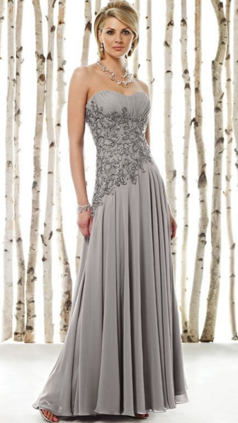 gaun pesta malam brokat elegan