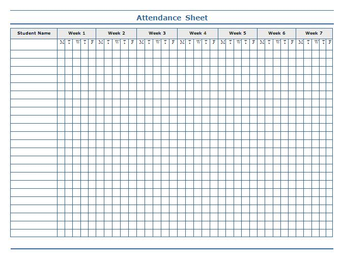 Doc512659 Printable Attendance Chart 78 images about – Weekly Attendance Sheet Template