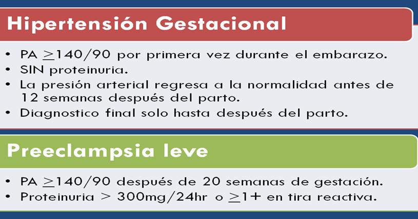 Manifestaciones clínicas de hipertensión gestacional
