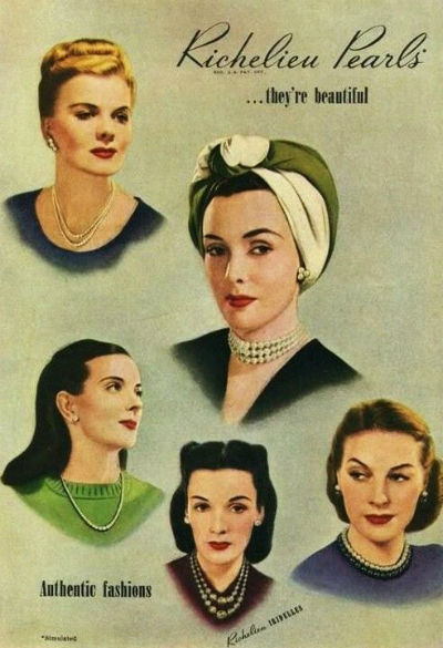 Richelieu Pearls Ad 1940s featuring jewelry and hats