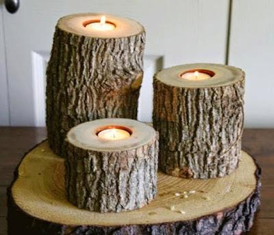 Tronco para colocar velas