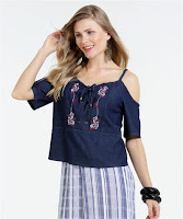 Moda Jeans Open Shoulder Bordado Marisa