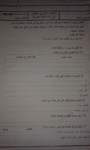 الاختبار الدوري النهائي في مادة اللغة العربية المستوى الثالث