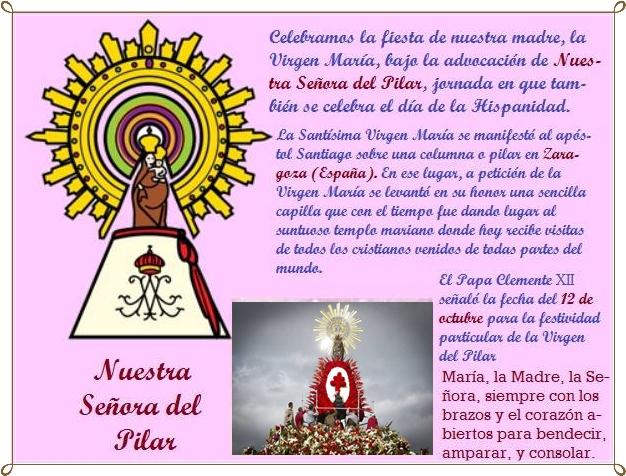 Religión Severo Ochoa Feliz Día De La Virgen Del Pilar