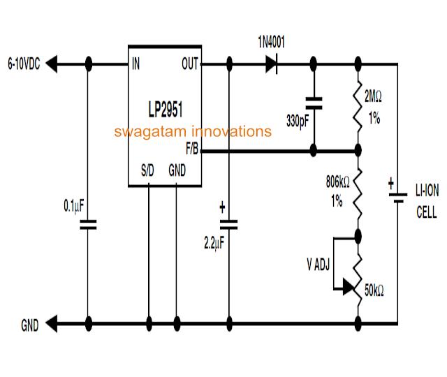 IC LP2951 Li-Ion charger circuit