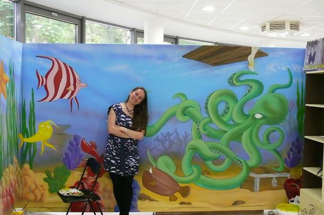 Artystyczne malowanie ściany w pokoju dziecięcym, aranżacja, Bydgoszcz