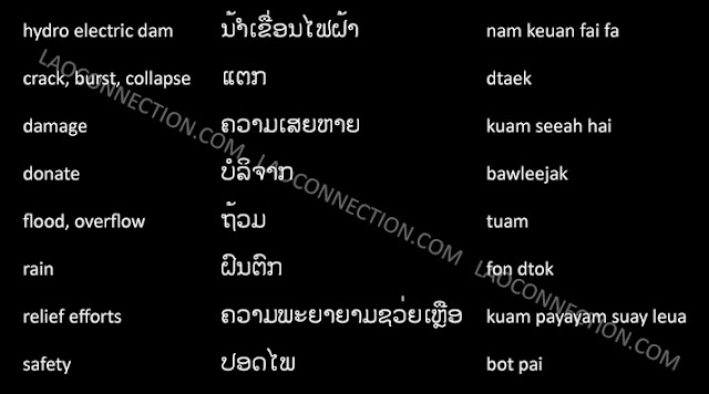 Lao Language:  Dam, Flood, and Related Words