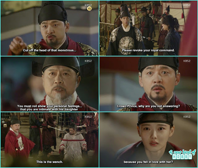king ask to cut the head of hong gyeong Nae crown prince stopped him but premier kim revealed crown prince in love with the traitor daughter ra on - Love In The Moonlight - Episode 16 Review (Eng Sub) park bo gum & kim you jung